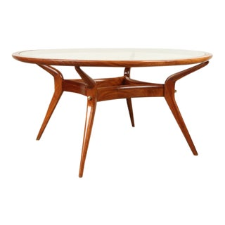Ico Parisi Mahogany Dining Table with Glass Top For Sale