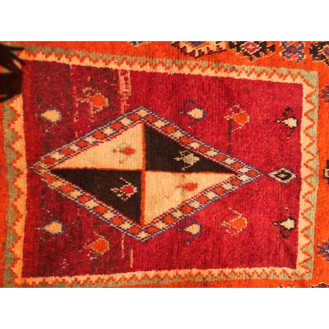 """A Very Old Fine and Rare Vintage Orange Moroccan Azilal Rug - 4'2"""" X 10' - Image 4 of 5"""
