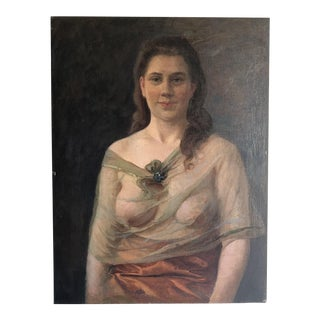 """Sheer Top""Antique Portrait of Woman Oil Painting"