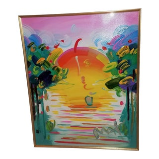 """~Sale Peter Max, """" Better World Version II #I"""" Acrylic Mixed Media Original, Signed, Inscribed on Back For Sale"""