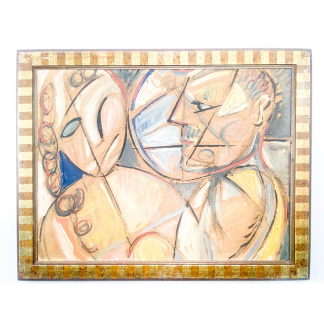 Cubist Portrait of Man and Woman Oil Painting For Sale In Atlanta - Image 6 of 6