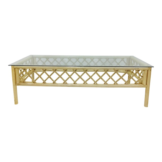 Vintage Ficks Reed Rattan & Glass Coffee Table For Sale