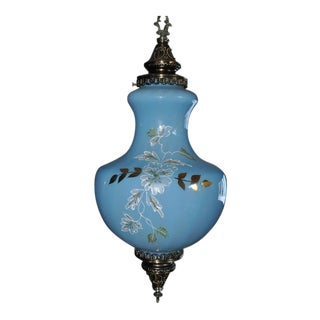 Mid-Century Pendant Swag Lamp Chandelier With Bulbous Gourd Shaped Blue Glass Shade For Sale