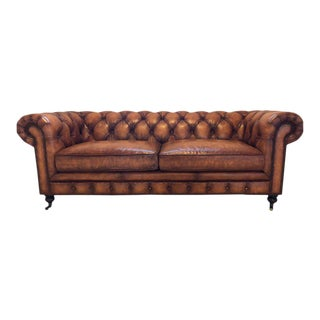 English Georgian Style Worn Leather Chesterfield Sofa
