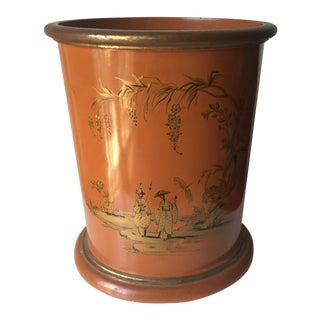 Vintage Chinoiserie Lacquer Wastebasket