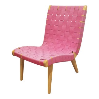 1960s Jens Risom for Knoll Mid-Century Modern Pink Strap Chair For Sale