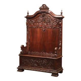 Mid-Italian Renaissance Carved Walnut Hall Bench With Storage For Sale