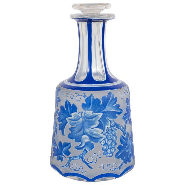 French Art Deco Decanter in Ancient Blue with Grape Vine and Leaf Motif For Sale - Image 10 of 10