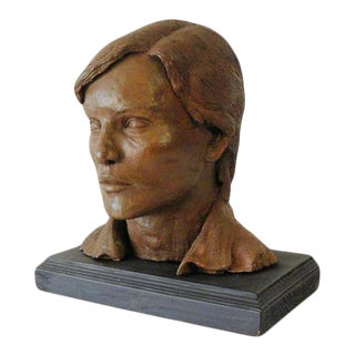 Mid 20th Century Male Bust Clay Sculpture For Sale