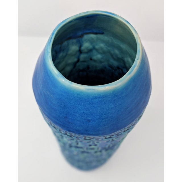 Blue Tribal Inspired Embossed Vase For Sale - Image 8 of 13