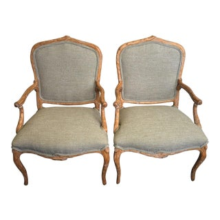 Vintage French Faux Bois Arm Chairs - a Pair For Sale