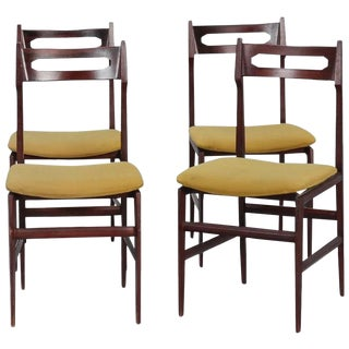 Set of Four Slender Mid Century Italian Chairs For Sale