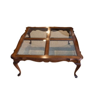 1990s Vintage Pennsylvania House Queen Anne Style Cherry and Glass Coffee Table For Sale