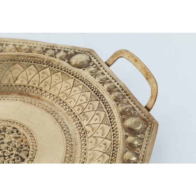 Indo Persian Brass Charger Serving Tray For Sale In Los Angeles - Image 6 of 9