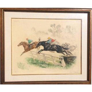 1920s Vintage Louis Claude Equestrian Jump Framed Print For Sale