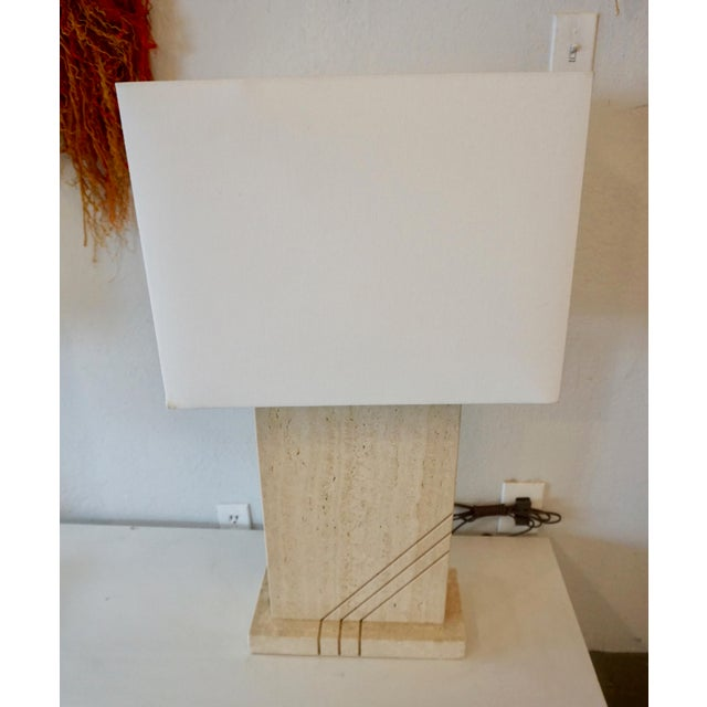 1980s 1980s Postmodern Travertine Table Lamps - a Pair For Sale - Image 5 of 8