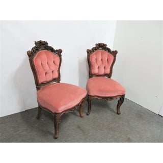 Victorian Rosewood Rose Carved Side Chairs - a Pair Preview