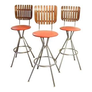 Vintage Mid Century Bar Stools - Set of 3 For Sale