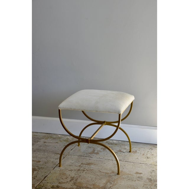 "DESIGN FRERES Contemporary Design Frères ""Strapontin"" Gilt Metal and White Hide Stool For Sale - Image 4 of 4"