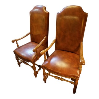 1970s Antique Pair of Century Chair Co. George III Distressed Leather High-Back Armchairs For Sale