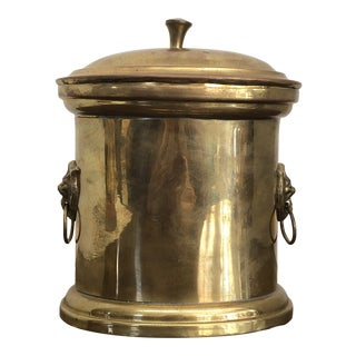 Antique Handcrafted Oval Lidded Brass Lion Head Tea Caddy Box For Sale
