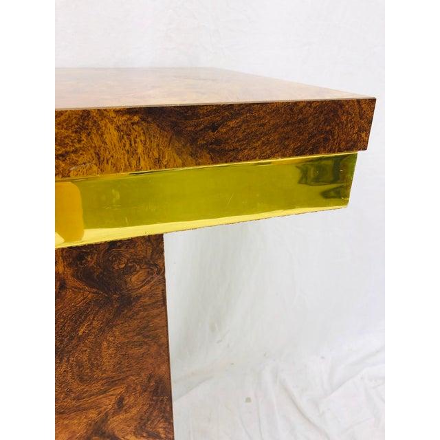 Vintage Modern Burl & Brass Table For Sale - Image 11 of 12