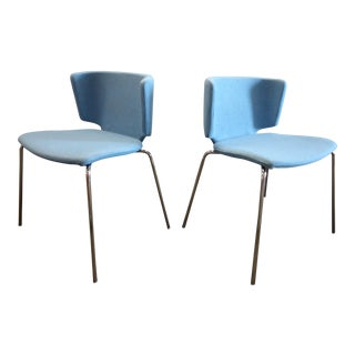 Spain Mark Krusin Modern Coalesse Wrapp Stackable Blue Guest Chairs - a Pair For Sale