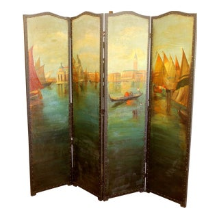 1940's Stunning Painted on Leather Venetian Screen