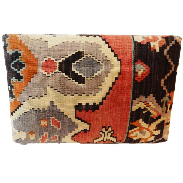 Tribal Kilim Rug & Mud Cloth Ottoman For Sale In New York - Image 6 of 9