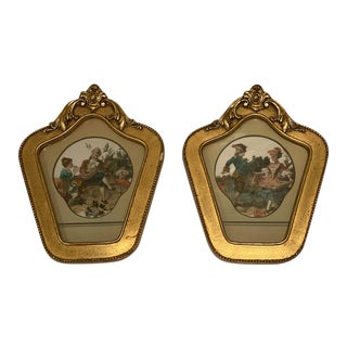 Baroque Petite Framed Pictures - A Pair For Sale