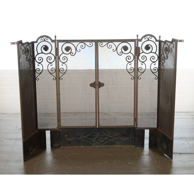 Antique Ornate Spanish Cast Iron Fire Place Screen For Sale In Los Angeles - Image 6 of 7