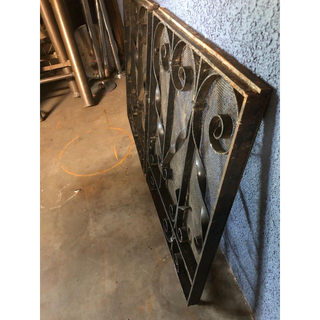 Metal Antique Black Iron Fireplace Screens-A Pair For Sale - Image 7 of 10