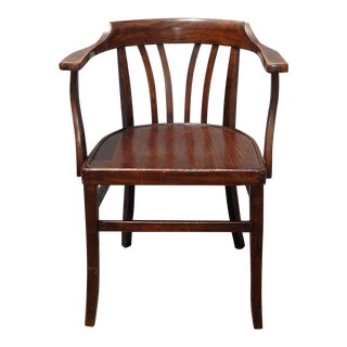 Vintage Bankers Style Traditional Wood Arm Chair For Sale