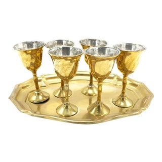 Mid-Century Brass Aperitif Serving Set - 7 Pieces For Sale