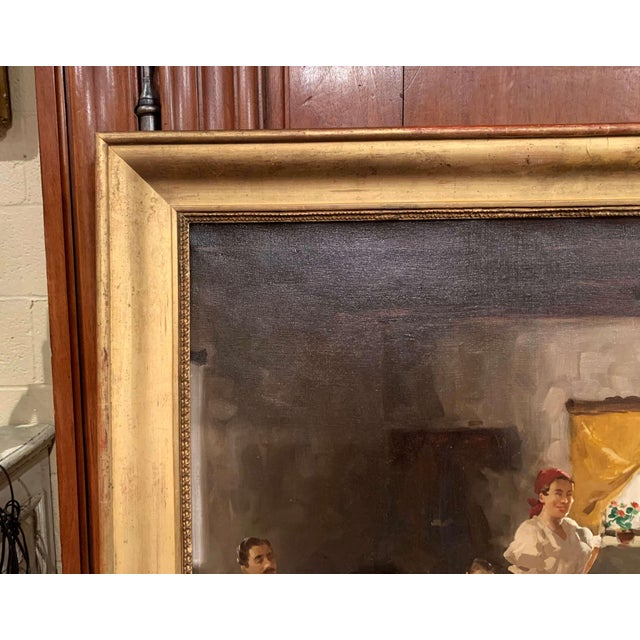 Red 19th Century Hungarian Oil on Canvas Painting in Gilt Frame Signed & Dated, 1897 For Sale - Image 8 of 12