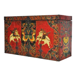 Large Painted Tibetan Trunk With Sacred Elephants