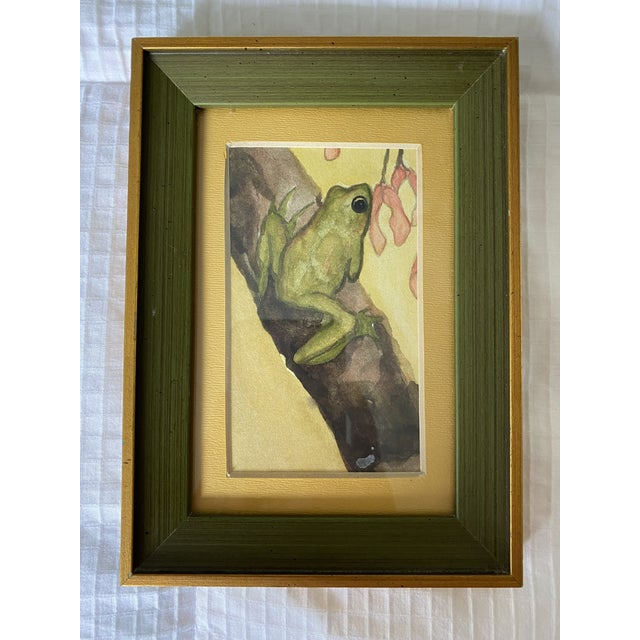 Rustic 1970s Frog and Owl Watercolor Paintings, Framed - a Pair For Sale - Image 3 of 5