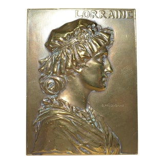 Brilliant Bronze Plaque by noted French artist Georges Prud'Homme c.1900 For Sale