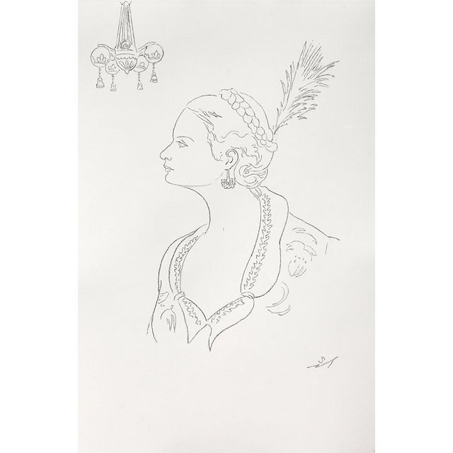 Line drawing of a lady in profile; embroidered collar and plumes in her braided hair show she is wearing elegant evening...