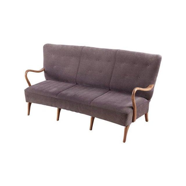 Gray Scandinavian Organic Wingback Sofa For Sale - Image 8 of 10