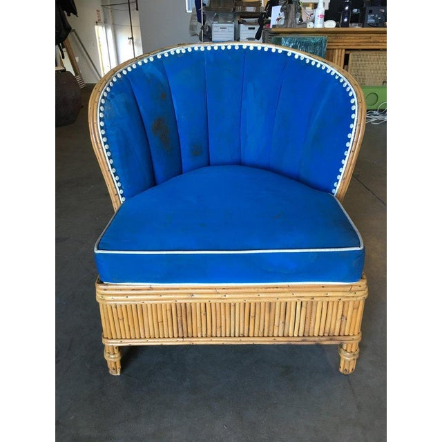 Rare Art Deco Shell Back Stick Rattan Lounge Chairs For Sale - Image 4 of 10