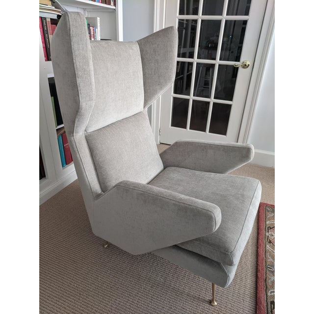 2010s Mid-Century Modern Italian Style West Elm Wing Chair For Sale - Image 5 of 10