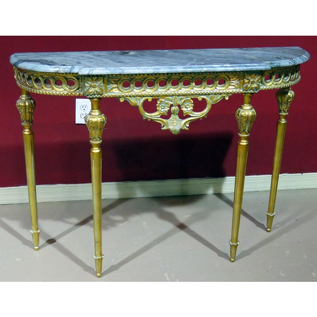 Regency Style Marble Top Demi-Lune Console Table For Sale - Image 10 of 10