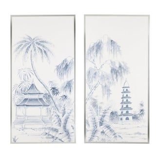 """Pagoda Garden"" Jardins en Fleur Chinoiserie Diptych Paintings - a Pair For Sale"