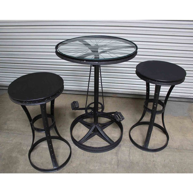 Glass Top Metal Bicycle Bar with Stools Set - Set of 3 - Image 2 of 5