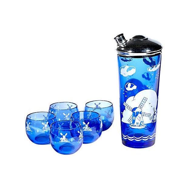Glass Cobalt Windmill Cocktail Set - Set of 6 For Sale - Image 7 of 7