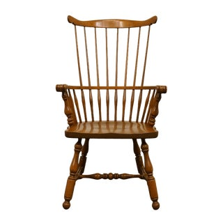 Late 20th Century Vintage Ethan Allen Heirloom Nutmeg Maple Spindle High Back Arm Chair For Sale
