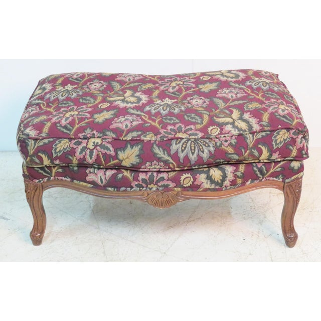 Mid 20th Century Louis XV Style Walnut Bergeres With Ottoman - Set of 3 For Sale - Image 5 of 7