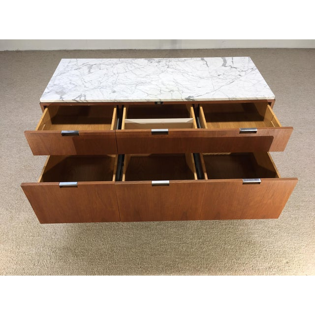 Knoll Florence Knoll 6 Drawer Carrera Marble Top Teak Chest For Sale - Image 4 of 5