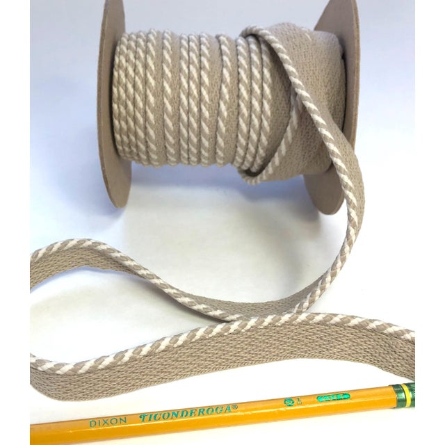 """Modern Braided 1/4"""" Indoor/Outdoor Cord in White/Sand For Sale - Image 3 of 9"""